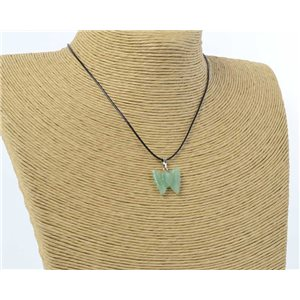 butterfly pendant necklace natural stone on waxed cord l49cm 71177