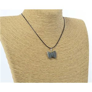 butterfly pendant necklace natural stone on waxed cord l49cm 71179