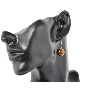 1p earrings natural stone on silver metal 71247