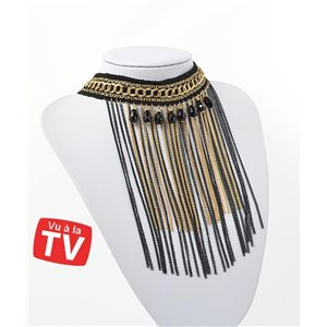 Ras Neck Chains Necklace Multi Row Black & Gold Collection Chic 71272