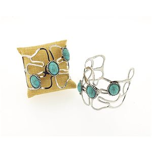 New TORK silver metal bracelet set with Turquoise Fashion Chic 71357