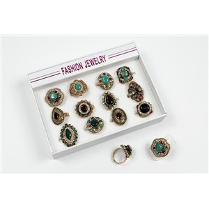 Box of 12 Adjustable Rhinestone Metal Rings Gold Collection Vintage Collection 72540