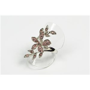 Adjustable ring Full Strass on metal silver color New Collection 72606