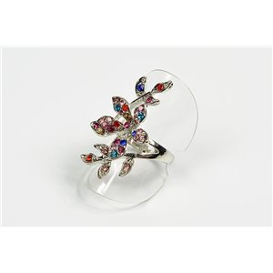 Adjustable ring Full Strass on metal silver color New Collection 72612