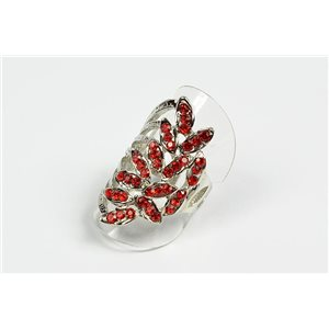 Adjustable ring Full Strass on metal silver color New Collection 72734