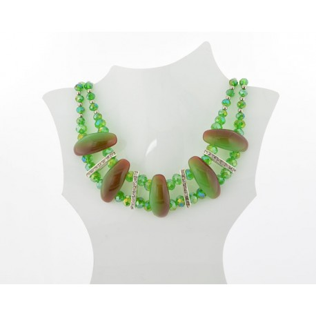 Necklace faceted Glass Beads Jewelry Rhinestones on L50cm 61391