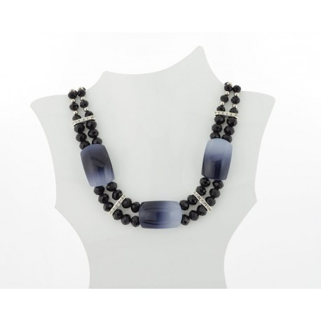 Necklace faceted Glass Beads Jewelry Rhinestones on L50cm 61401