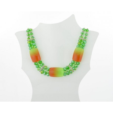 Necklace faceted Glass Beads Jewelry Rhinestones on L50cm 61403