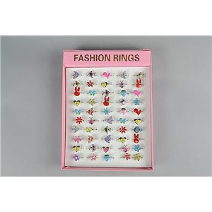 1 Boxes of 50 Children Adjustable Rings Metal Color 73488