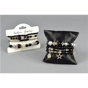 Bracelet CYBELE Cuff 4 rows Collection Bead Charms and Jewels on elastic thread 73536
