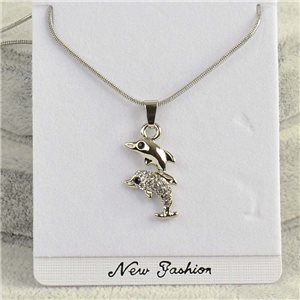 Necklace pendant IRIS rhinestone strass chain snake L40-45cm Collection 2018 75148