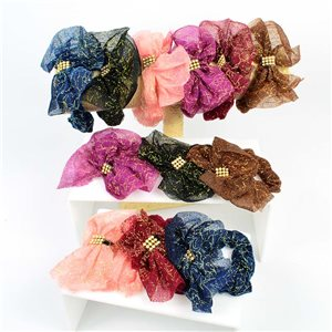 Lot of 12 Chouchoux 6 Colors Bow Tulle and Rhinestone 7cm 75208
