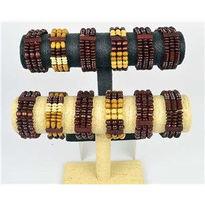 Lot of 12 Bracelets 3 Row of Coco Wood Beads on Elastic Thread 66651