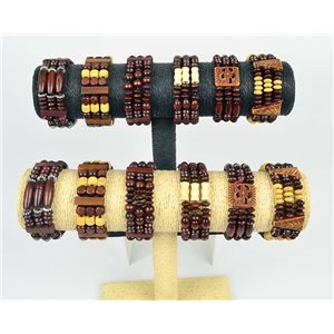 Lot of 12 Bracelets 3 Row of Coco Wood Beads on Elastic Thread 66652