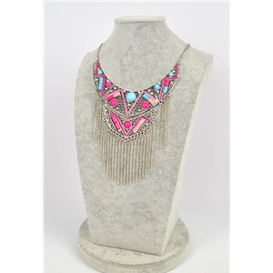 Collier ATHENA métal argenté ciselé sertie de Strass New Collection Ethnique 75441