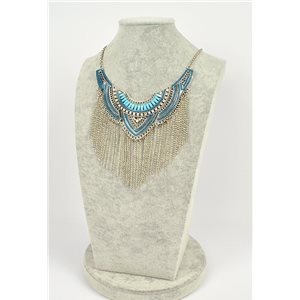 Collier ATHENA métal argenté ciselé sertie de Strass New Collection Ethnique 75445