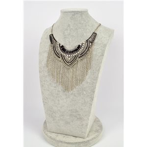 Collier ATHENA métal argenté ciselé sertie de Strass New Collection Ethnique 75446