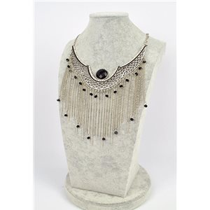 Collier ATHENA métal argenté ciselé sertie de Strass New Collection Ethnique 75450