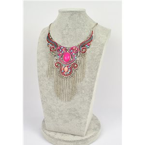 Collier ATHENA métal argenté ciselé sertie de Strass New Collection Ethnique 75451