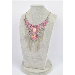 Collier ATHENA métal argenté ciselé sertie de Strass New Collection Ethnique 75452