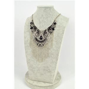 ATHENA necklace engraved silver metal set with Rhinestone New Ethnic Collection 75456