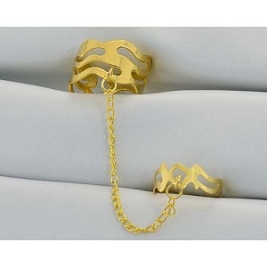 12 Double Rings Adjustable gold metal Phalanges 60972