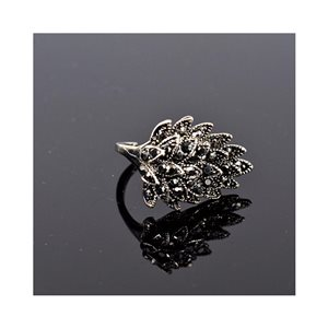 New Collection Adjustable Metal Ring Set with Rhinestone Color Anthracite 75657