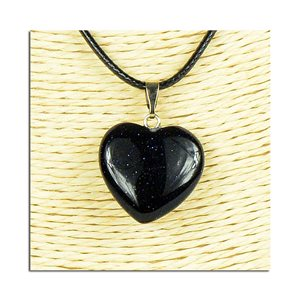 Necklace Heart Pendant 20mm stone on waxed cord L49cm 75808
