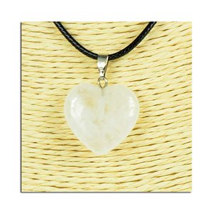 Heart pendant necklace 20mm stone waxed cord L49cm 75812