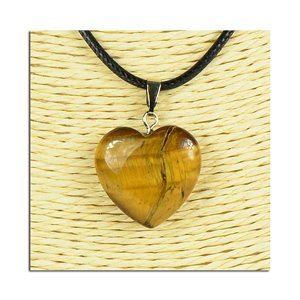 Necklace Heart Pendant 20mm stone on waxed cord L49cm 75816