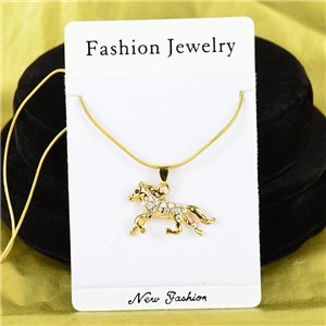 Necklace Rhinestones Pendant IRIS Gold Color Chain snake mesh L40-45cm 75864