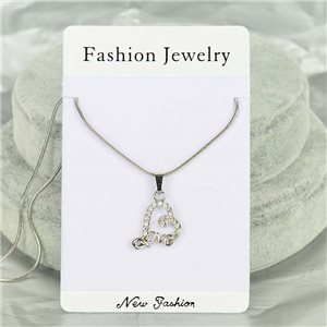 Rhinestone Pendant Necklace IRIS Silver Color Chain snake mesh L40-45cm 75891