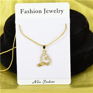 Necklace Rhinestones Pendant IRIS Gold Color Chain snake mesh L40-45cm 75892