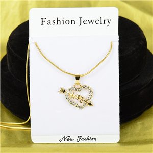 Necklace Rhinestones Pendant IRIS Gold Color Chain snake mesh L40-45cm 75898