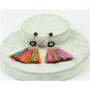 1p earrings with nail New Trends Pompoms on metal Silver 76060