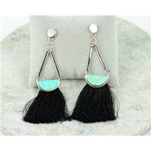 1p earrings with nail New Trends Pompon on metal Silver 76105