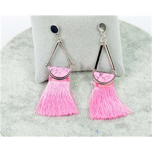 1p earrings with nail New Trends Pompon on metal Silver 76107