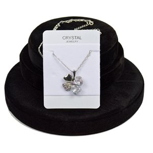 Crystal 4 Hearts Pendant on Silver Chain Metal L41-46cm 76171
