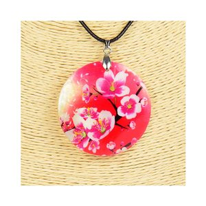 Collier Pendentif 5cm en Nacre naturelle Fashion Design L48cm New Collection 76204