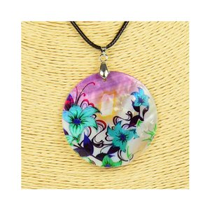 Collier Pendentif 5cm en Nacre naturelle Fashion Design L48cm New Collection 76212