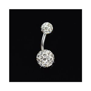 Piercing Banana navel Steel 316L L10mm D1.6 New Collection Rhinestones White 68869