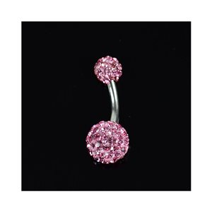 Piercing Banana navel Steel 316L L10mm D1.6 New Collection Rhinestone Rose 68871