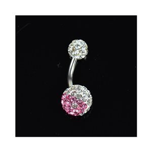 Piercing Banana navel Steel 316L L10mm D1.6 New Collection Strass YING-YANG Rose 68877