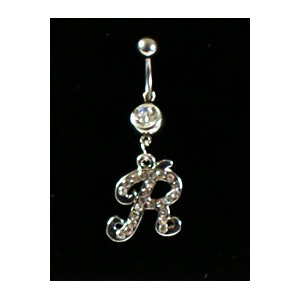 Piercing Strass Collection Steel 316L Letter R 32450