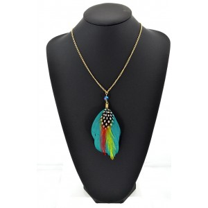 Feather Necklace pendant on a gold chain L60 cm 62337