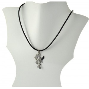 Necklace Pendant Brushed steel Shiny waxed cord on 66091