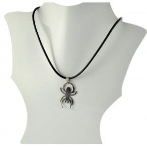 Necklace Pendant Brushed steel Shiny waxed cord on 66093