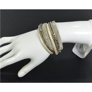 Chic Leather Bracelet Fashion appearance and Rhinestone Clasp Magnetic L39cm 67097
