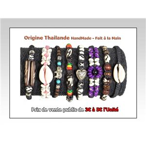 Set of 8 bracelets waxed cotton THAILAND Hand-made 68084