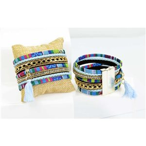 Rhinestone Bracelet cuff Effect Multi Row magnetic clasp New Collection 68300